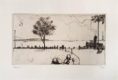 New York, Battery Park - Original Etching by J.E. Laboureur - 1907
