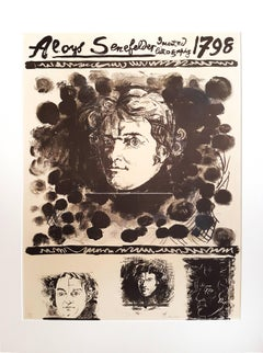 Portrait of Aloys Senefelder - Original Lithograph by Graham Sutherland - 1971