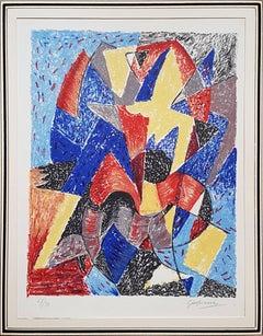 Omaggio a Boccioni - Original Lithograph by Gino Severini - 1962