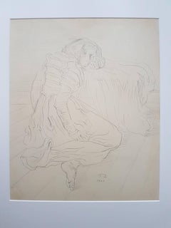 Model - Original Pencil Drawing by Eugène German - 1944