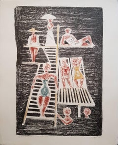 Il Trampolino - Original Lithograph by Massimo Campigli - 1954