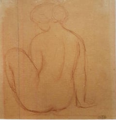 Nude Woman  Original Pencil Drawing by Artistide Maillol