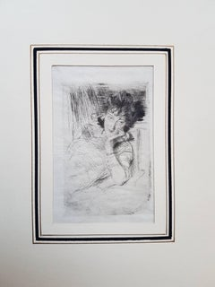 Pensive - Original Etching by Giovanni Boldini - 1902