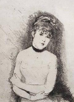 Jeune Femme - Original Etching by Giuseppe De Nittis - 1875-80