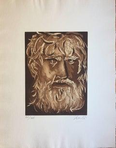 Head of Oedipus - Original Etching by G. Manzù