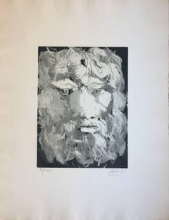 Head of Oedipus - Original Etching by Giacomo Manzù - 1970