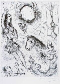 Les Danseurs à la Lune - Original Etching by Marc Chagall - 1967