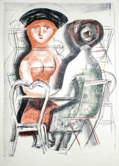 Women at the Table - Original Lithograph by Massimo Campigli - 1952