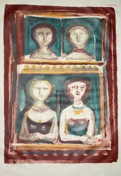 Le Belle di Sera - Original Lithograph by Massimo Campigli - 1967