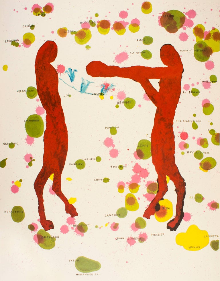 Giuseppe Gallo Abstract Print - Boxers, Olympic Games Beijing 2008