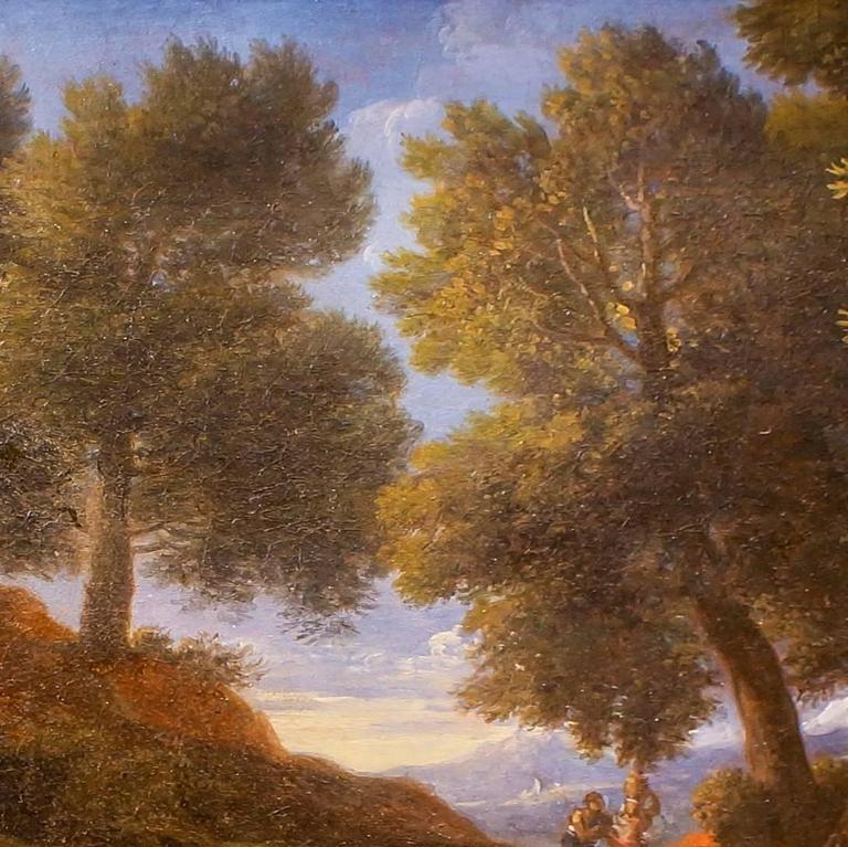 Paesaggio Boscoso con Fontanile, Pastori e Armenti - by Jan Frans van Bloemen - Brown Landscape Painting by Jan Frans van Bloemen (Orizzonte)