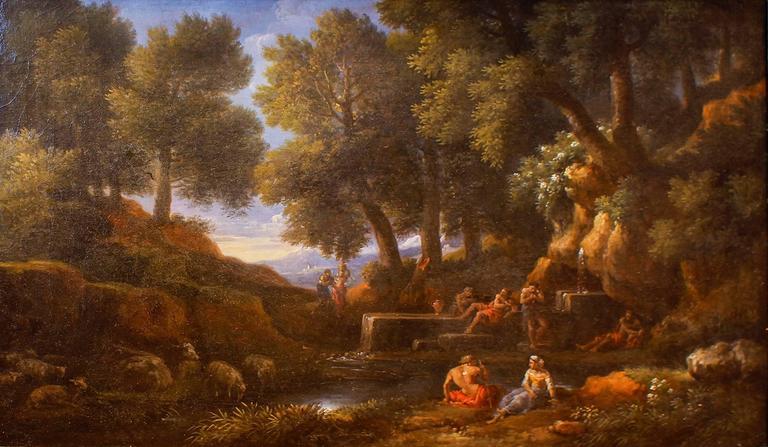 Jan Frans van Bloemen (Orizzonte) Landscape Painting - Paesaggio Boscoso con Fontanile, Pastori e Armenti - by Jan Frans van Bloemen