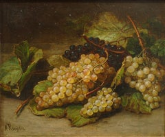 Still Life with Grapes - Original Oil on Canvas by A. J. Kreyder