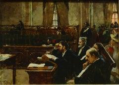 L'Aula del Tribunale - Original Oil on Canvas by Vincenzo dé Stefani - 1891