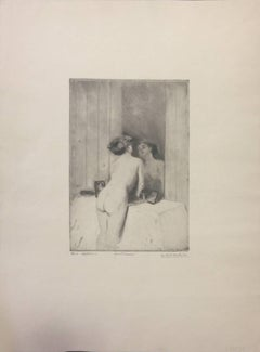 Allo specchio - Original Etching and Drypoint by Lino Selvatico - Early 1900