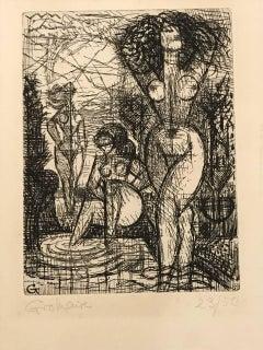 Les Trois Baigneuses - Original Etching by Marcel Gromaire - 1930