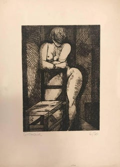 Nu à la Chaise - Original Etching by Marcel Gromaire - 1930s