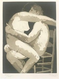 Lovers I - Original Etching by Giacomo Manzù - 1970