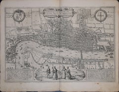 London /Londinum Antique Map, Civitates Orbis Terrarum by Braun and Hogenberg