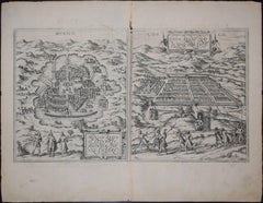Mexico City & Cusco Antique Map, Civitates Orbis Terrarum by Braun & Hogenberg