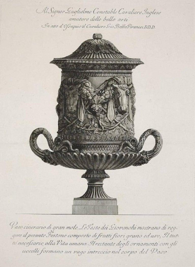 """Vaso Cinerario di Gran Mole, etching from """"Vases, Candelabras, Grave,Stones..."""""""