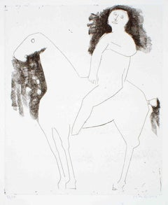 Le Chevalier - The Knight - Original Etching by Marino Marini - 1959