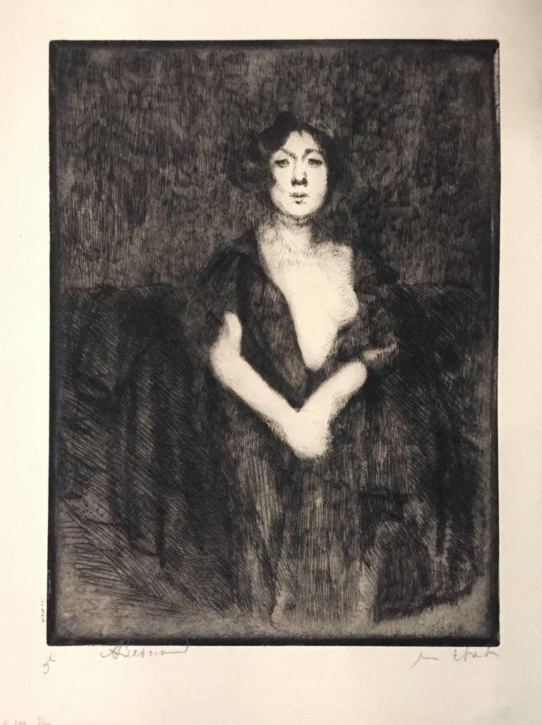Albert Besnard Nude Print - Le Modèle au Manteau Noir