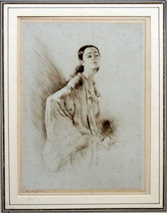 Femme au Chale - Original Etching by Edgar Chahine