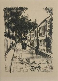 The Walk - Original Lithograph by M. Utrillo - 1927