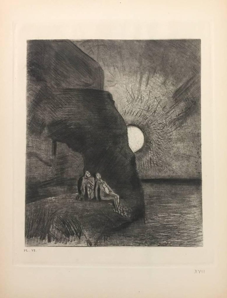 "Monogram of the artist on plate. Edition of 150 prints. One of the 50 H.C. copies in Roman Numerals. This print is one of the illustrations realized by Odilon Redon for an important edition of the book ""Les Fleurs du Mal"" By Charles"