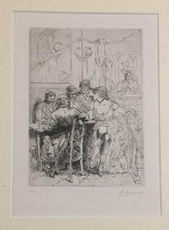 Salon - Original Etching by Auguste Brouet