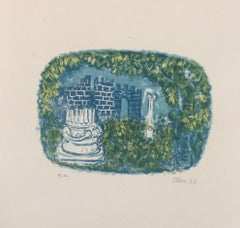 Landscape with Tower and Columns - Original Lithograph by Antoni Clavé - 1943