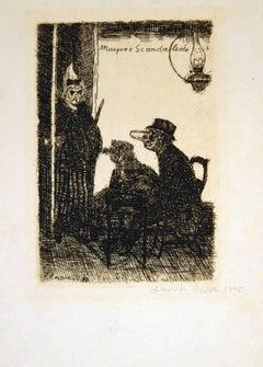 Les Masques Scandalisés - Original Etching by J. Ensor - 1895