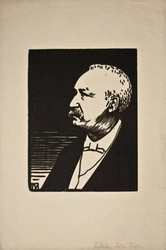Portrait of Felix Faure - Original Woodcut Print by F. Vallotton