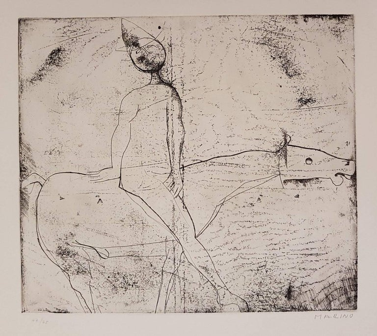 Marino Marini Print - Gioco del Cavaliere (Game of the Knight) - Original Etching by M. Marino - 1969