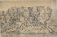 Banks of the Tiber - Rome - Original Ink and Watercolor Drawing 1742