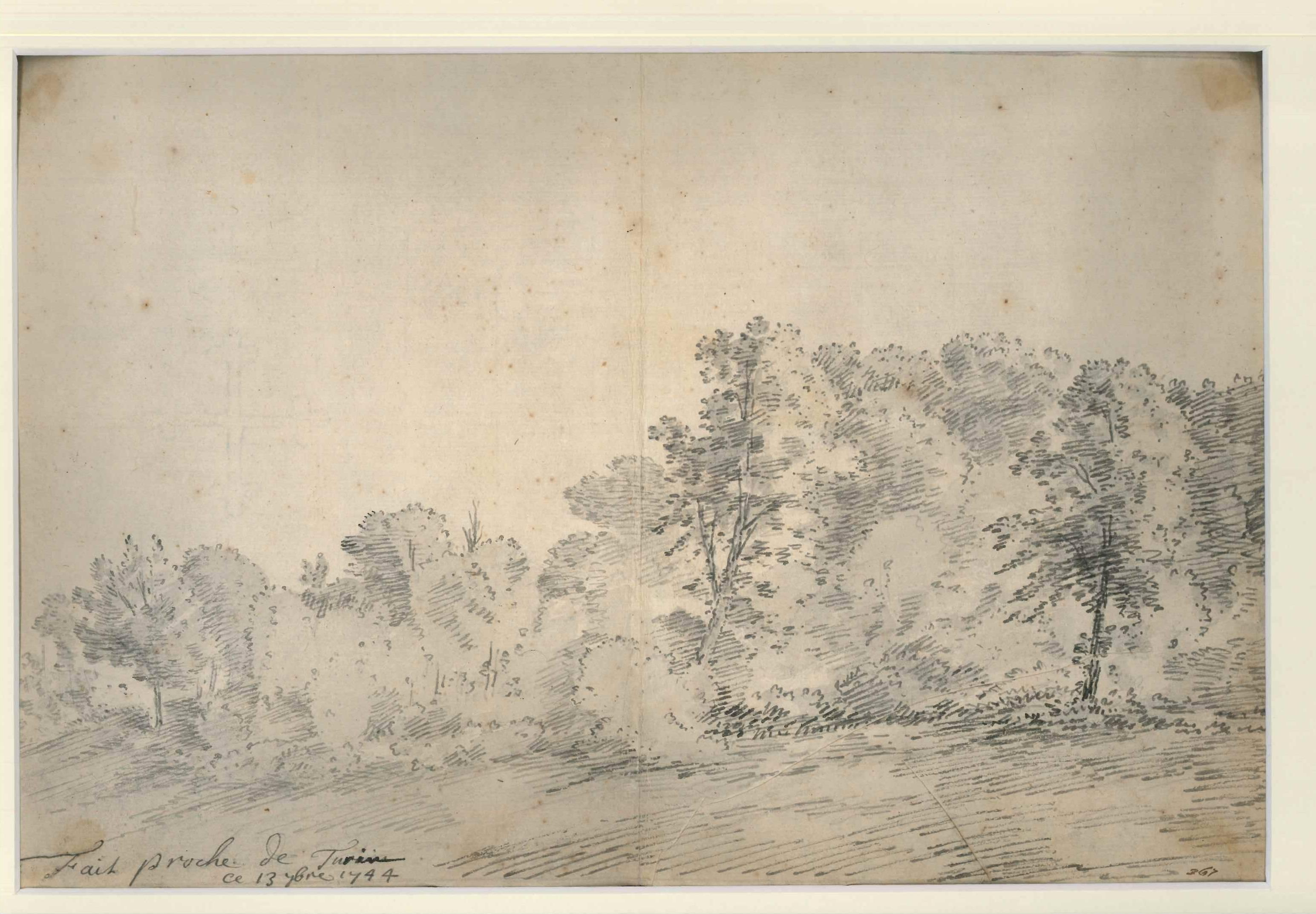 Turin Countryside - Original Ink and Watercolor by Jan Pieter Verdussen - 1744