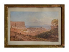 View of Royal Palace at Naples - 19th century - Watercolor - Modern