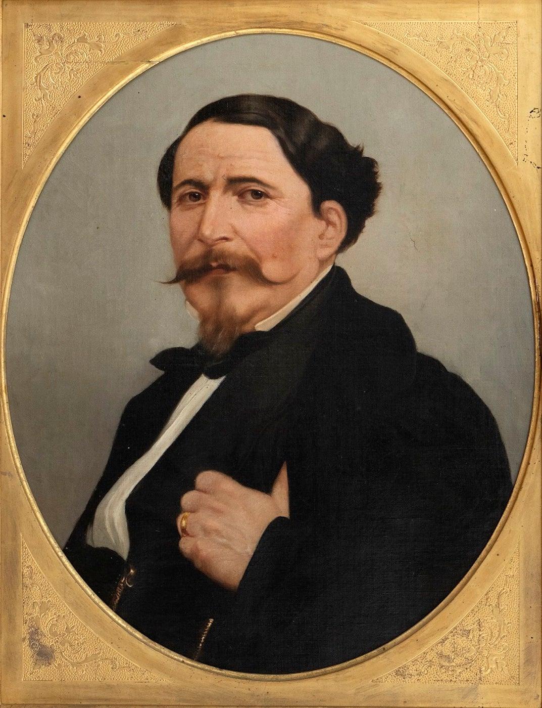 Portrait of a Man - Original Oil on Canvas by M. Gordigiani - Mid 19th Century