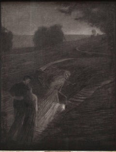 Towards the Peace - Original Charcoal Drawing by Carlo Fornara - 1904