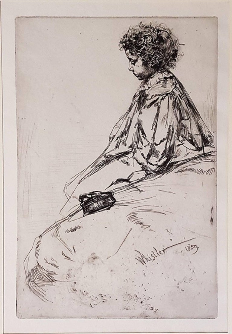 Etching, 1859. Image Dimensions: 23 x 15 cm Signed on plate.  Subject of this work by James Abbott McNeill Whistler is Bibi Lalouette, the son of the owner of the Paris, rue Dauphine, restaurant where the artist usually dined. The child is shown in