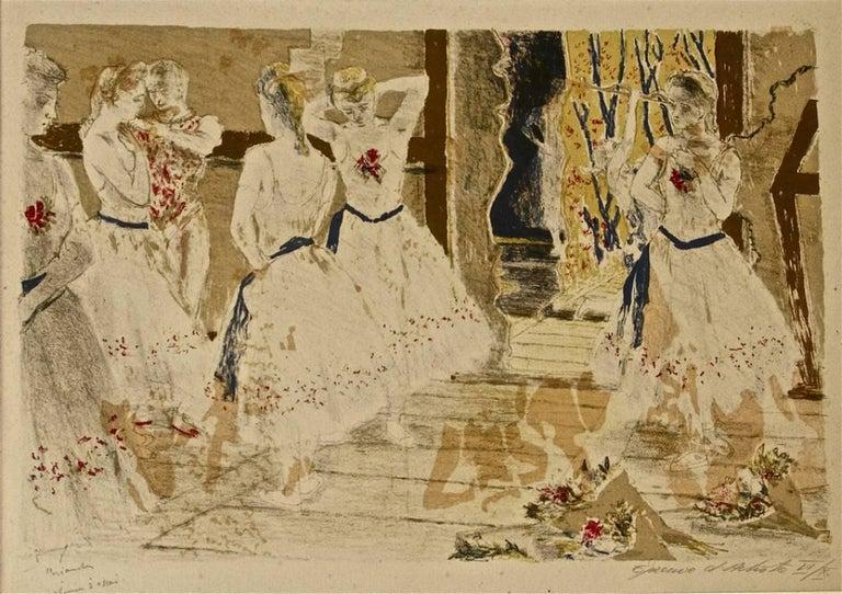 Constantin Terechkovitch Figurative Print - Dancers - Original Lithograph by Maurice Brianchon