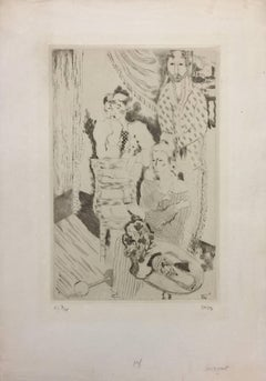 Group of three Clowns - Original Etching and Drypoint by Jean Lurçat - 1921