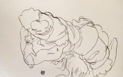 Edith Schiele mit Hund Lord