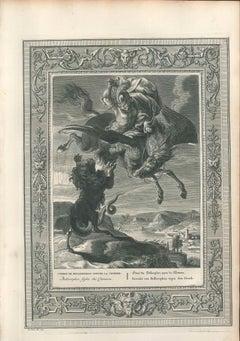 """Combat de Bellerophon contre la Chimere, from """"Le Temple des Muses"""""""