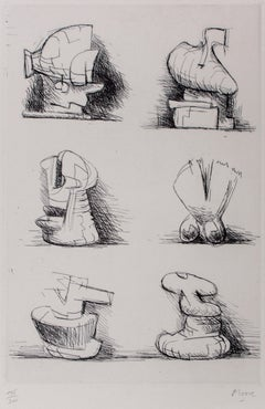Six Sculpture Motives - 1970s - Henry Moore - Etching - Contemporary
