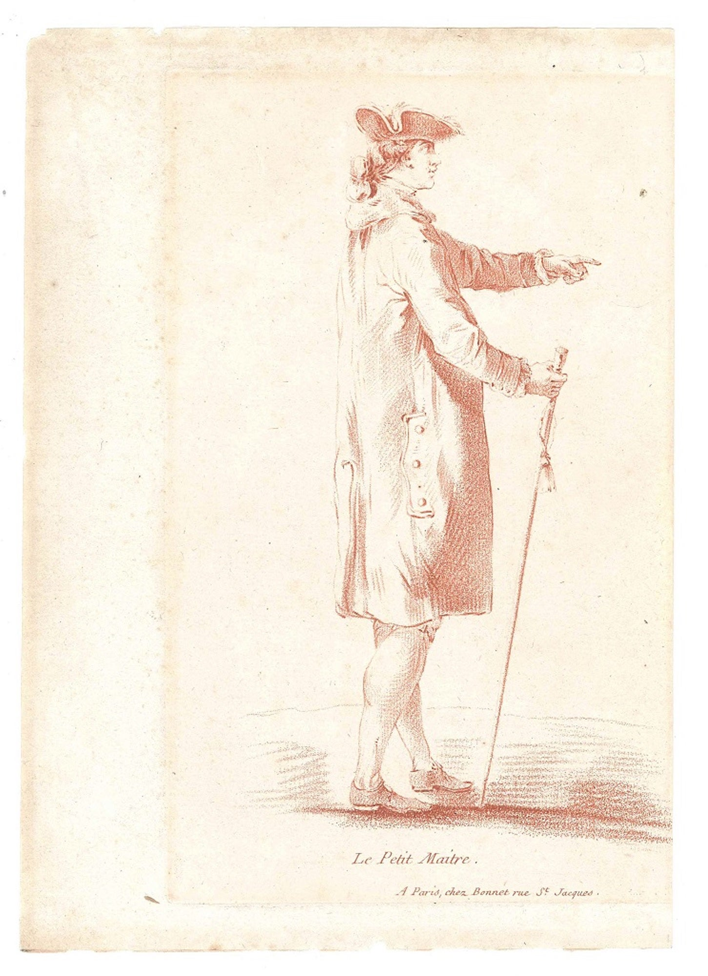 Le Petit Maitre - Original Etching and Pastel by L-M Bonnet - Late 18th Century