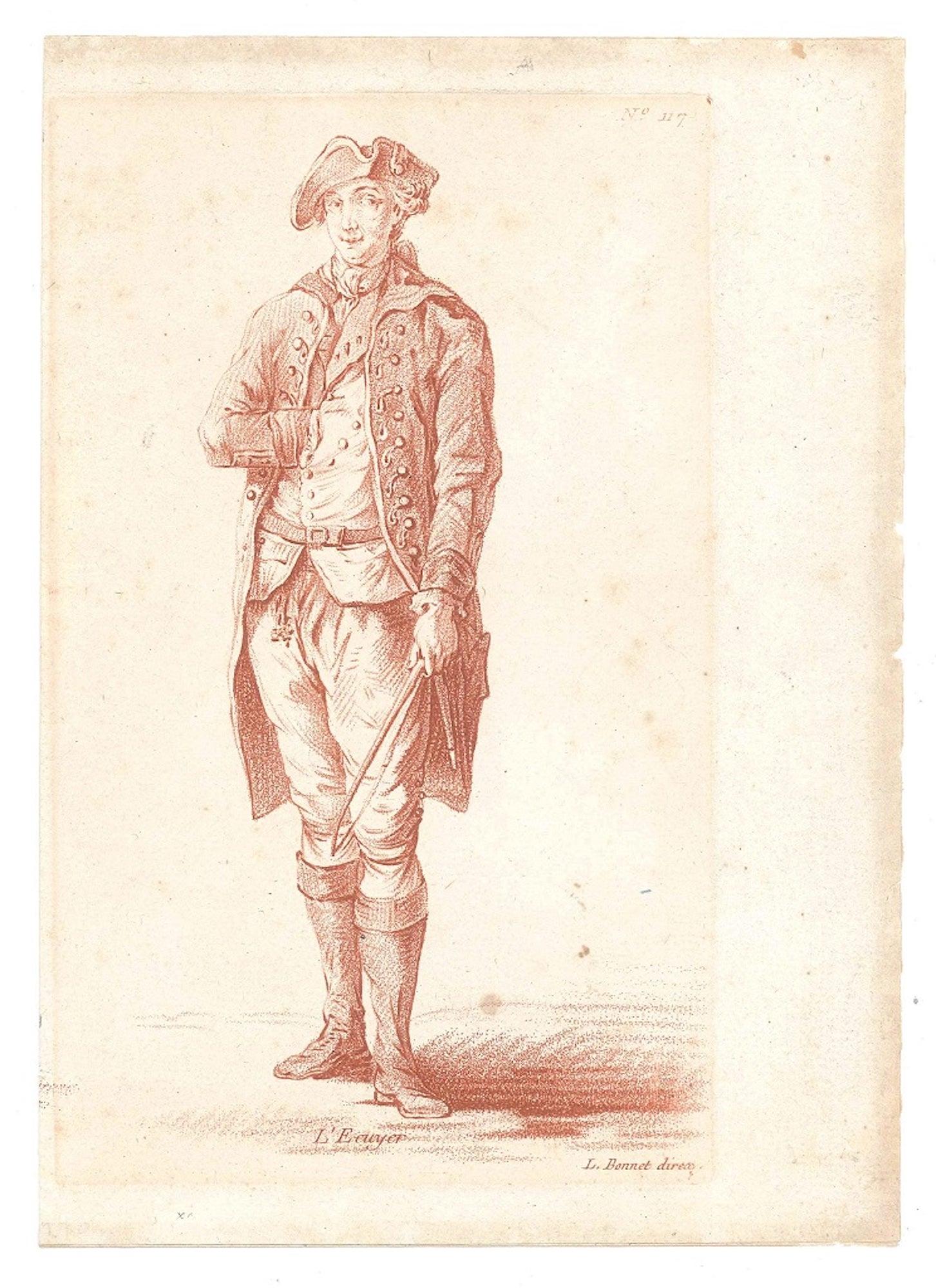 L'Ecuyer - Original Etching and Pastel by L-M Bonnet - Late 18th Century