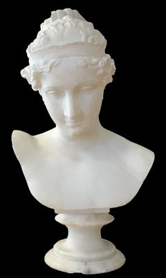 Bust of Young Woman, Original Carrara Marble Sculpture