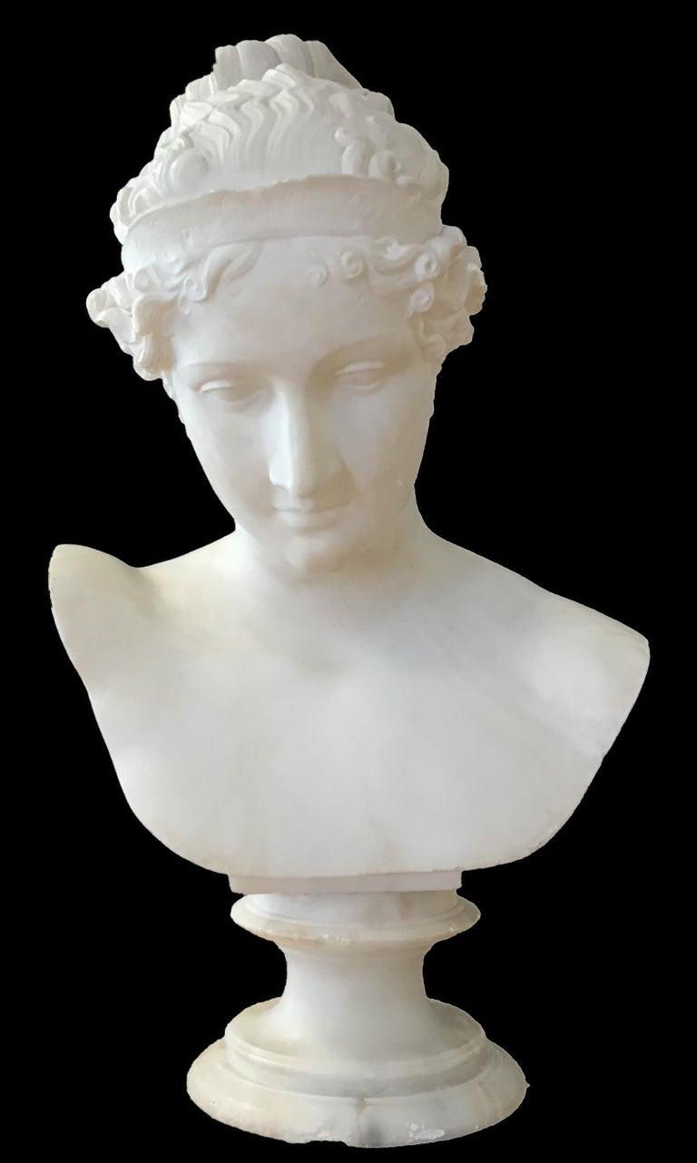 Antonio Canova (Follower Of) Figurative Sculpture - Bust of Young Woman, Original Carrara Marble Sculpture